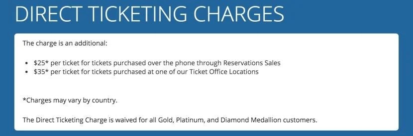 Delta's old ticketing charges — including a $25 fee for booking over the phone.
