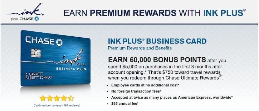 The Chase Ink Plus card alone will get you 65% of the way to your 100,000 mile goal.