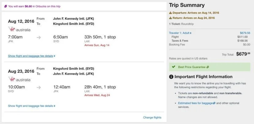 New York (JFK) to Sydney (SYD) for $679 on Delta/Virgin America in August.