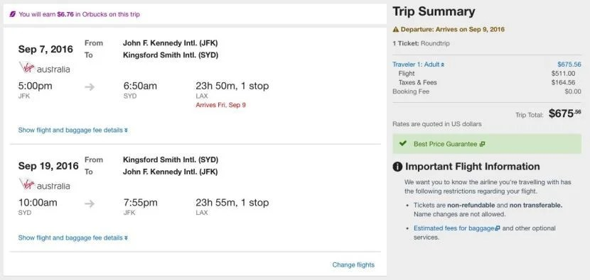 New York (JFK) to Sydney (SYD) for $676 on Delta/Virgin America in September.