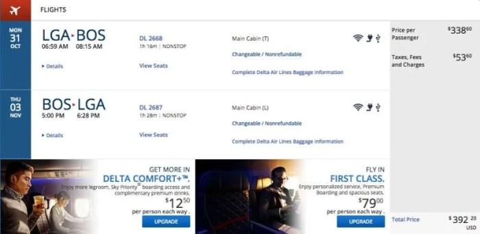 LGA to Boston for $394 on Delta.