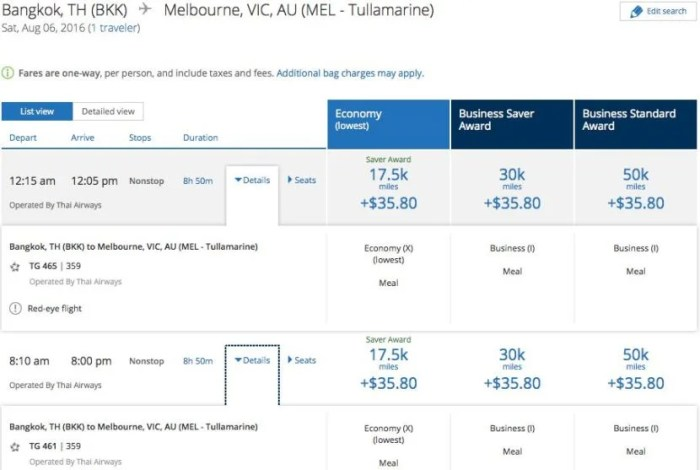 Plenty of award availability on THAI's A350 route from Bangkok to Melbourne.