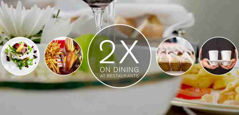 Earn two points per dollar on dining with Chase Sapphire Preferred.