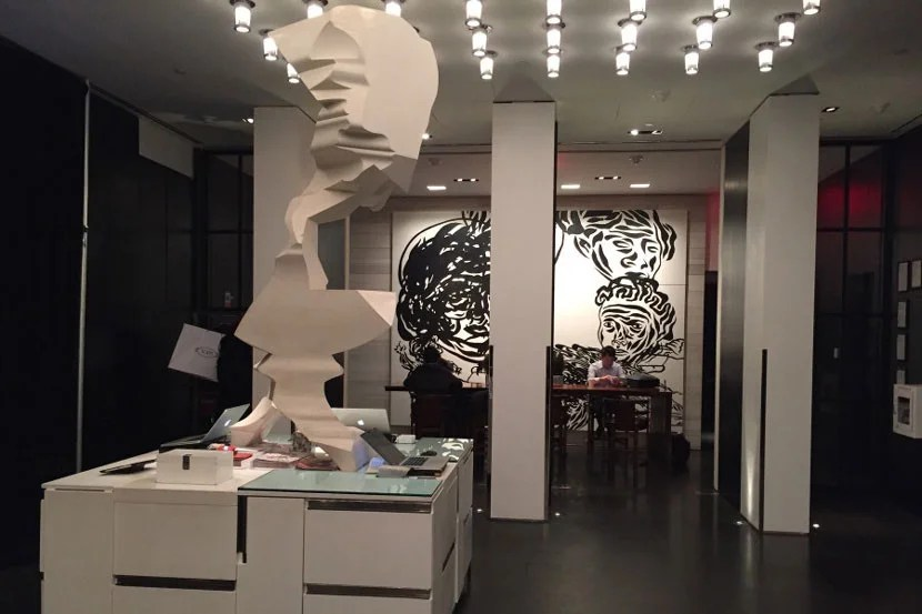 The lobby of the Andaz 5th Avenue.
