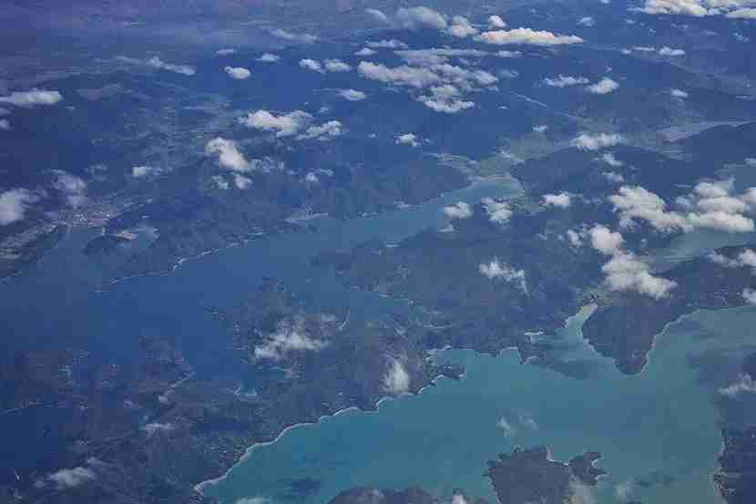 Marlborough Sounds, as seen from above.