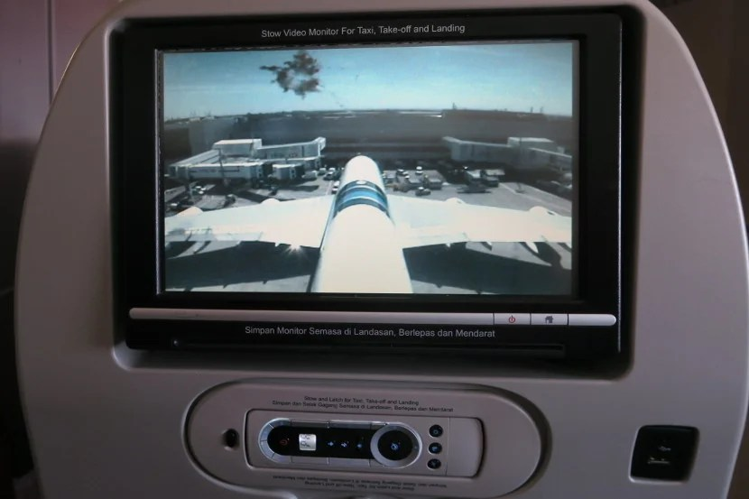 The tail camera provided interesting views during taxi, take-off and landing.