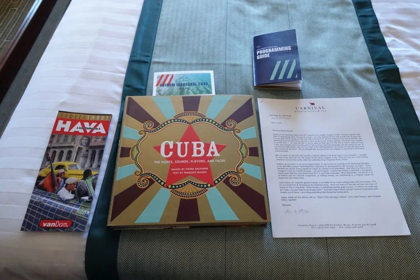 We were each given a Street Smart map of Havana, a coffee table book about Cuba and a message from the founder of Fathom to commemorate our historic cruise.