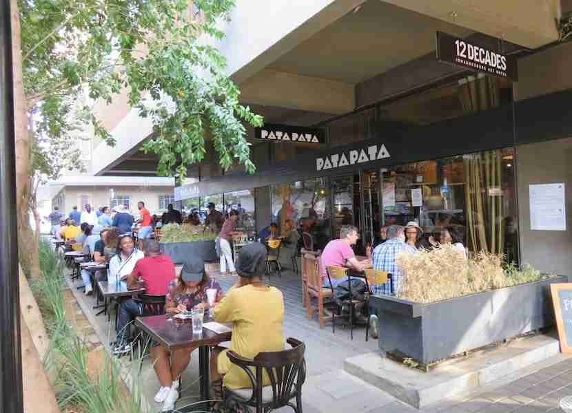 Enjoy people watching and delicious local fare at Pata Pata in Maboneng.