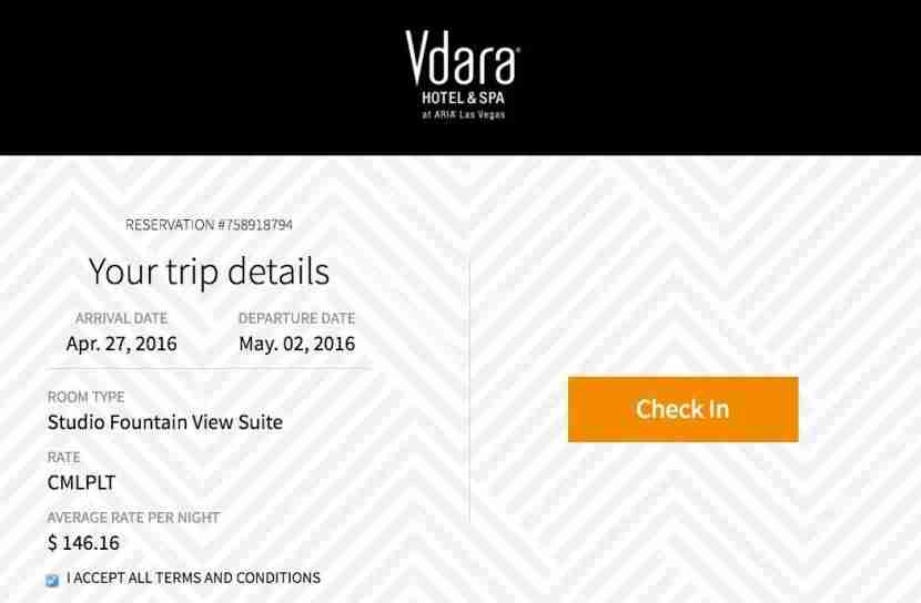 Vdara offers online check-in.