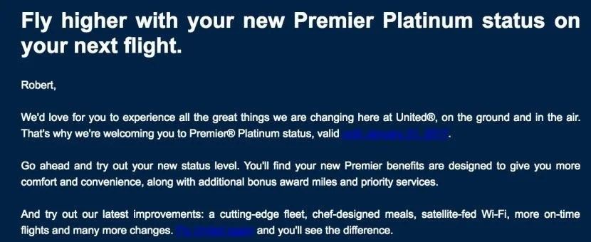 united s upgrading status and giving economy plus targeted