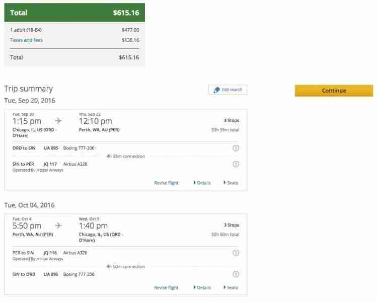 Chicago (ORD) to Perth (PER) for $615 on United and Jetstar.