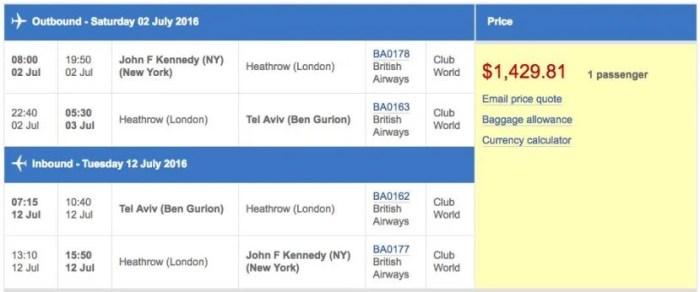 New York (JFK) to Tel Aviv (TLV) in business class on British Airways for $1,430.