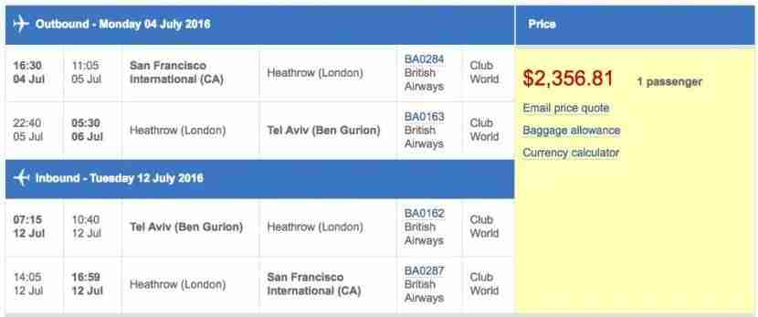 San Francisco (SFO) to Tel Aviv (TLV) in business class on British Airways for $2,357.