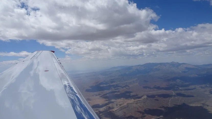 Flying over the Nevada desert.