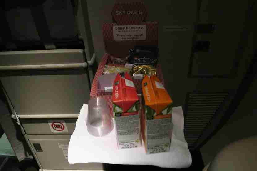 """The self-serve """"Sky Oasis"""" was set up in the galleys between dinner and the pre-landing meal."""
