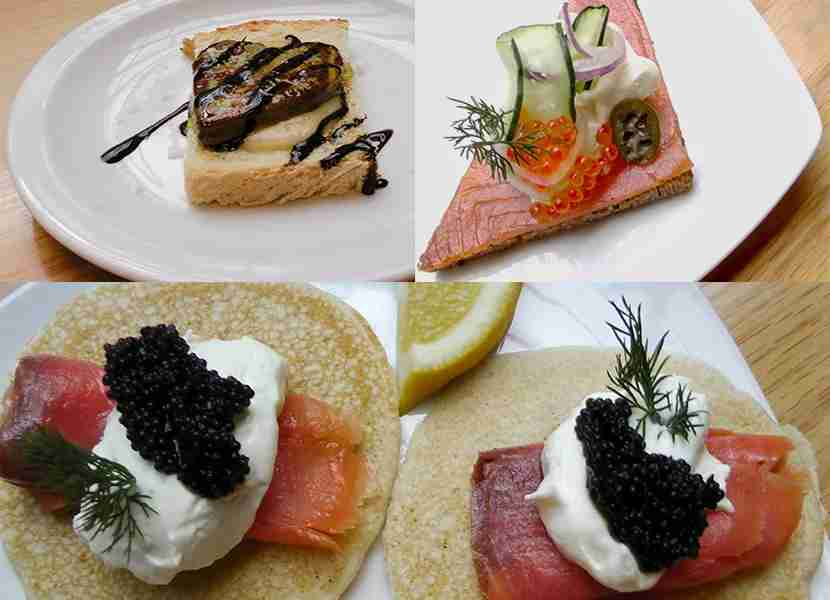 Clockwise from upper left: Duck breast with balsamic reduction, smoked salmon with salmon eggs, blinis with caviar. Images courtesy of the author.