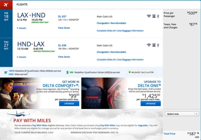 Los Angeles (LAX) to Tokyo (HND) for $588 round-trip on Delta.