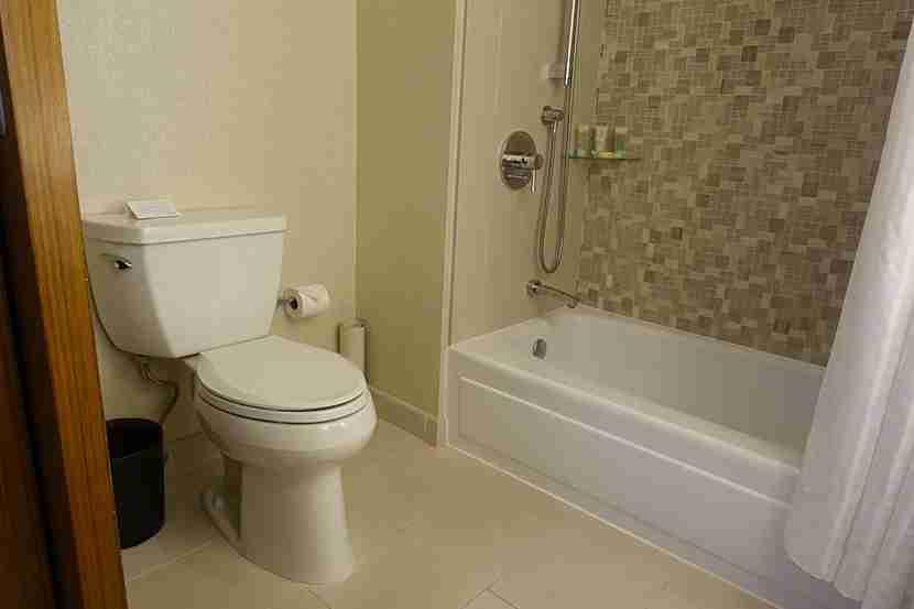 The first room had a faulty bathroom door.