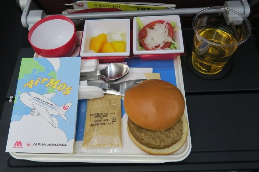 The arrival meal was a warm MOS burger — complete with instructions on how to eat the burger.