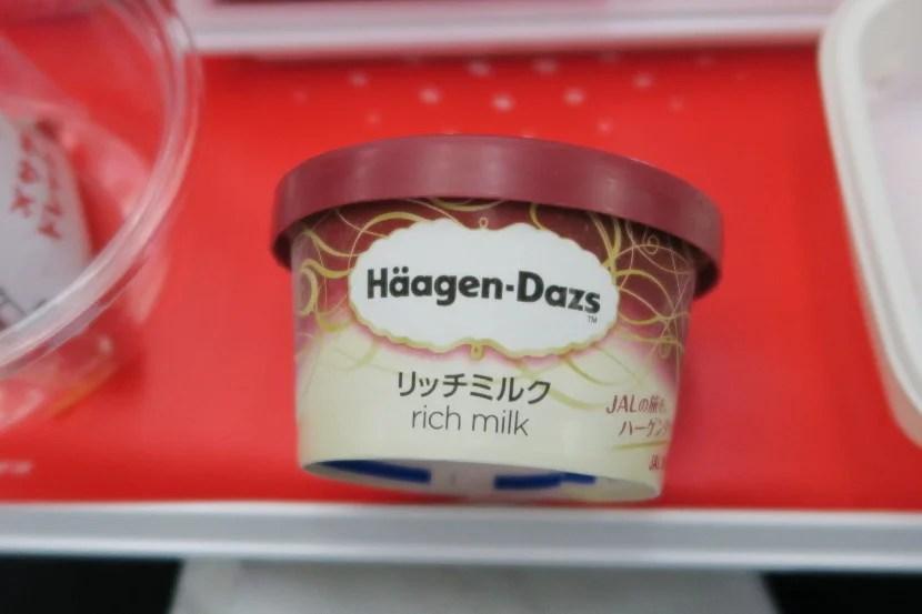 Häagen-Dazs Rich Milk ice cream was served near the end of dinner.