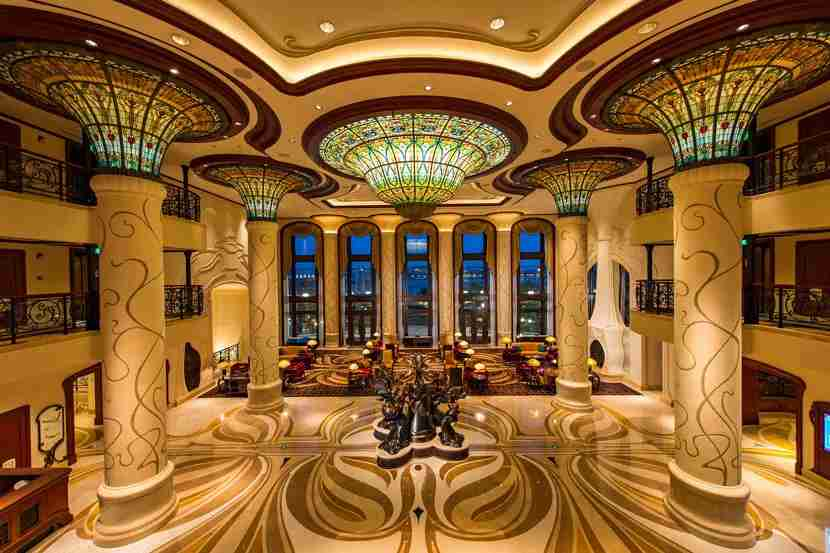 Inside the Shanghai Disneyland Hotel.