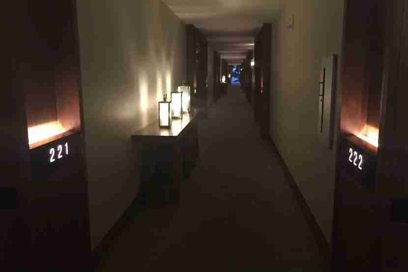 Mood lighting in the hallway of the Andaz Maui.