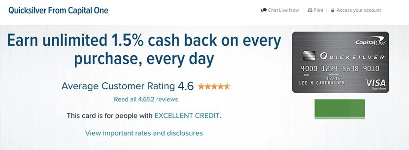 The Quicksilver Cash Rewards Card is a solid cash-back option.