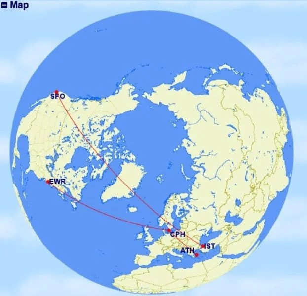 An example of a round-trip itinerary combining two open jaws and a stopover.