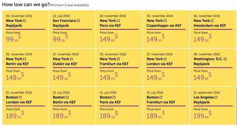 One way fares from the US.