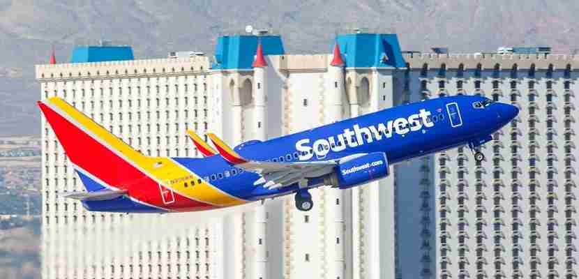 Southwest Airlines plane takeoff Las Vegas Excalibur featured shutterstock 329640158