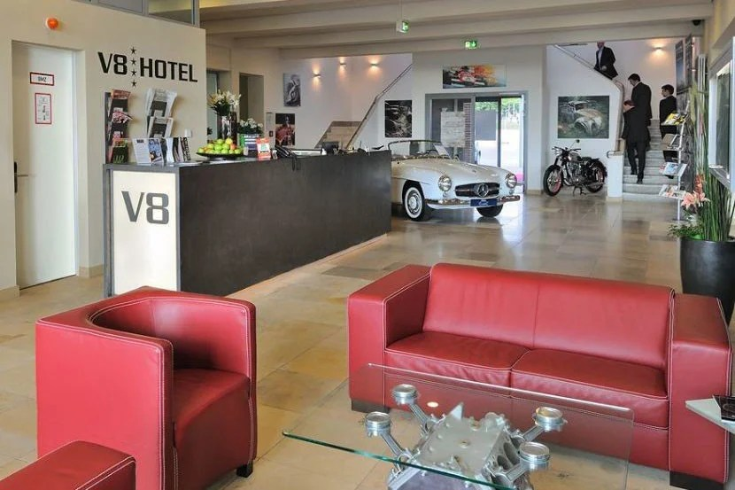 Revving up in the lobby. Image courtesy of the V8 Hotel.