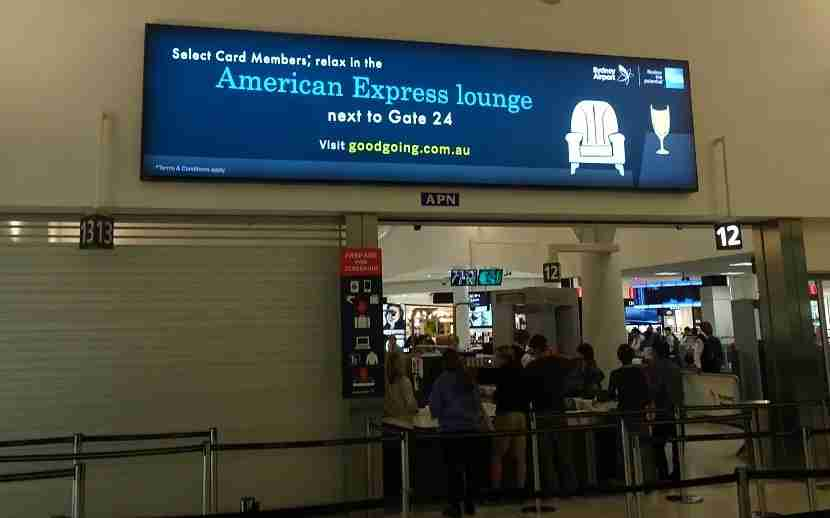 The only ad in the security area is for the Amex lounge.
