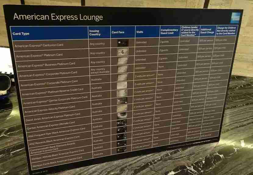 Which Amex card will let you into the lounge? See this chart.