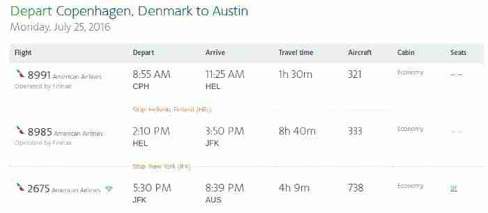 My return itinerary from Copenhagen to Austinincluded almost nine hours on-boardFinnair
