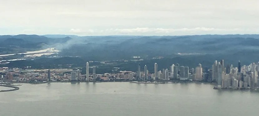 My view of Panama City on final approach with the Panama Canal entrance in the background.