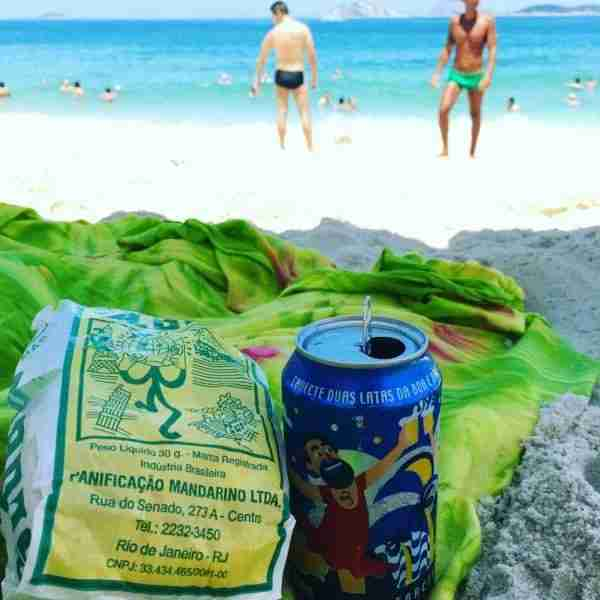 Ice cold Antartica beer and Globo biscuits on the beach. It doesn