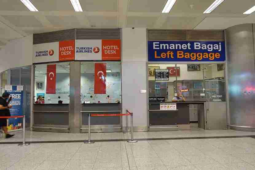 Left Baggage is conveniently right next to the check in area, so you can pay to store your bags.