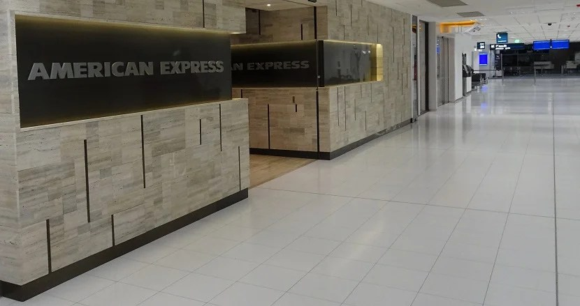 The American Express lounge at Sydney Airport is easy to spot.