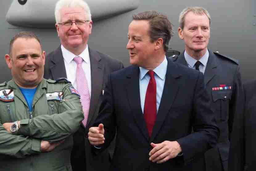 David Cameron jokes with a UK crew member.
