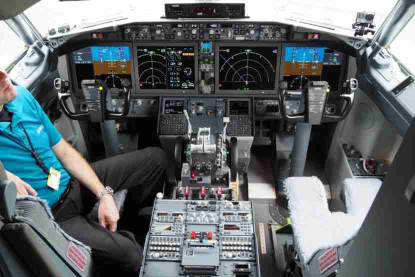 Airliners currently require two pilots, such as on this Boeing 737 MAX flight deck at the 2016 Farnborough Air Show. Photo by Zach Honig.