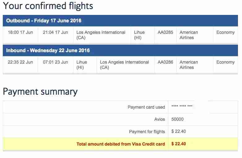 British Airways Kauai Hawaii Points Booking