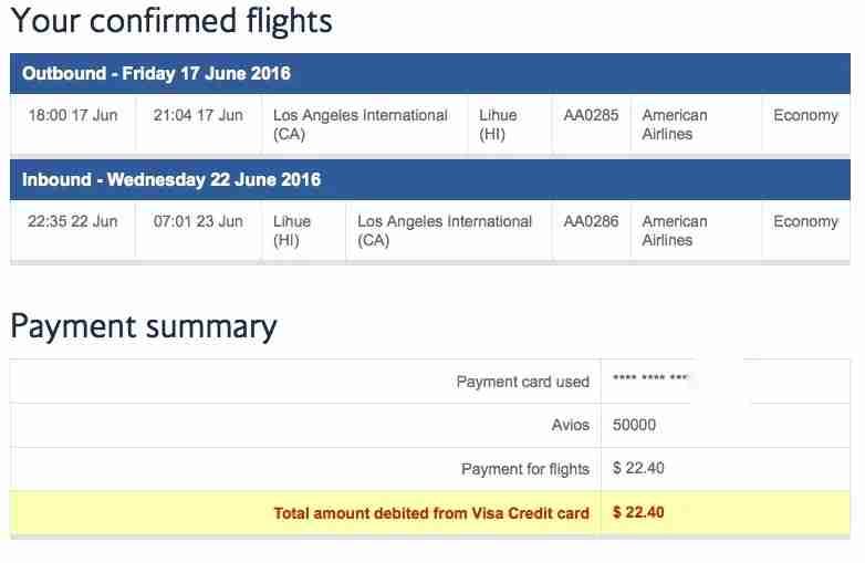 British Airways Kauai Hawaii Points Booking