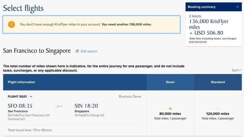 Redeem Miles for Business on Singapore\'s New Flight from SFO