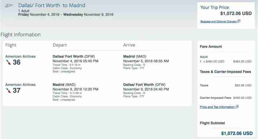 Dallas to Madrid for $1,072 round-trip.