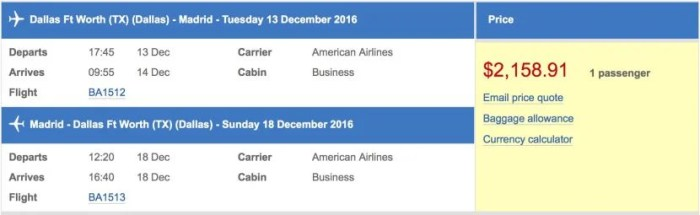 Using the AARP discount on British Airways's site, a round-trip economy ticket on the inaugural for $2159.