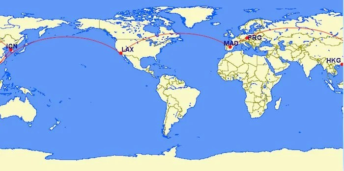 Visit Europe and Asia from the US all in business for 159,000 miles.