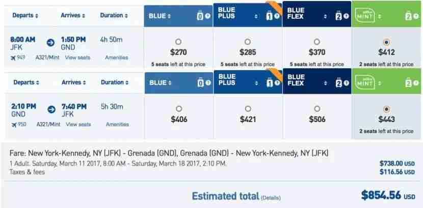 JetBlue Mint is now bookable to Grenada.