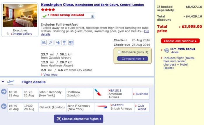 New York (JFK) to London (LHR) round-trip in Club World + two nights at the Kensington Close for $1,999 per person.