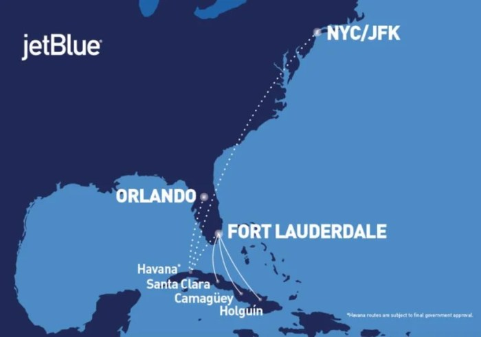 JetBlue's route network to Cuba.