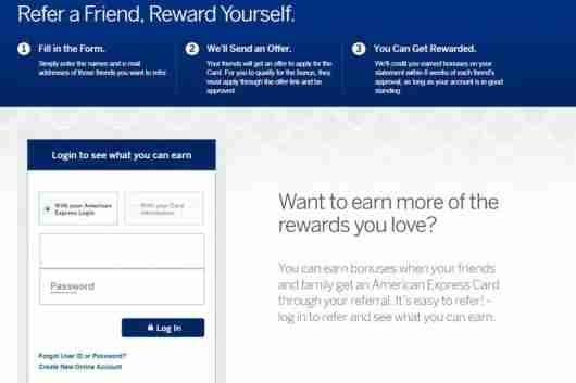 Screen Shot AmEx Refer A Friend